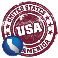 california map icon and a vintage USA immigration stamp