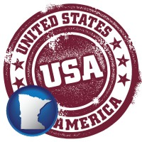 minnesota map icon and a vintage USA immigration stamp
