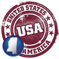 mississippi map icon and a vintage USA immigration stamp