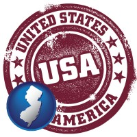 new-jersey map icon and a vintage USA immigration stamp