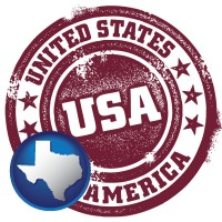 texas map icon and a vintage USA immigration stamp
