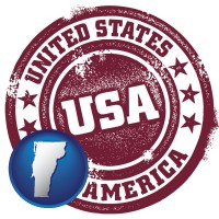 vermont map icon and a vintage USA immigration stamp